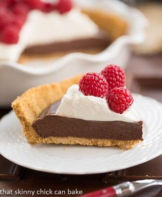 Chocolate Satin Pie slice on a white dessert plate