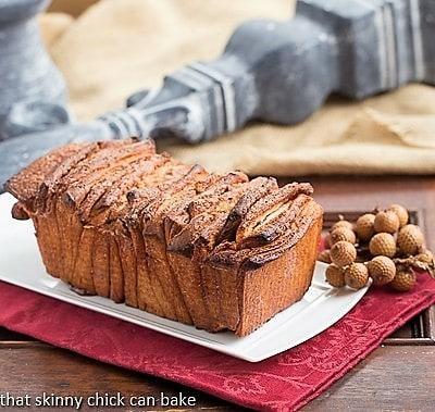 Cinnamon Pull Apart Coffee Cake on a white tray