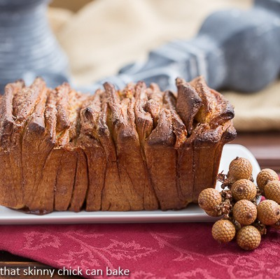 Cinnamon Pull Apart Coffee Cake on a white platter