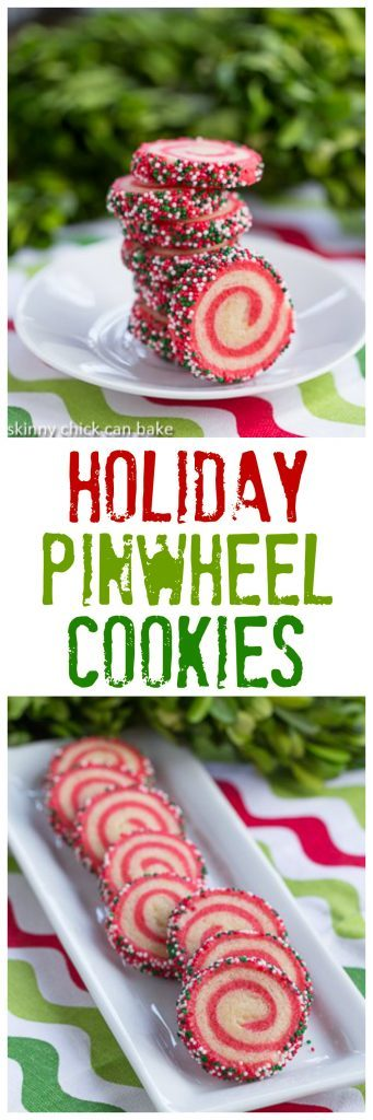 Holiday Pinwheel Cookies | Festive sugar cookies with spiraled red and white dough and holiday sprinkles!