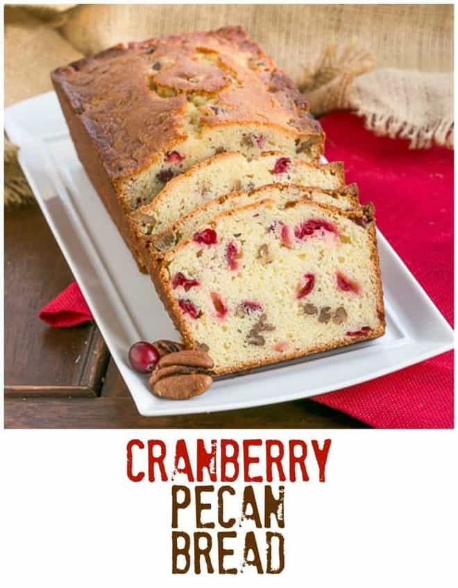 Cranberry Pecan Bread | Moist, dense and loaded with fresh cranberries and nuts!
