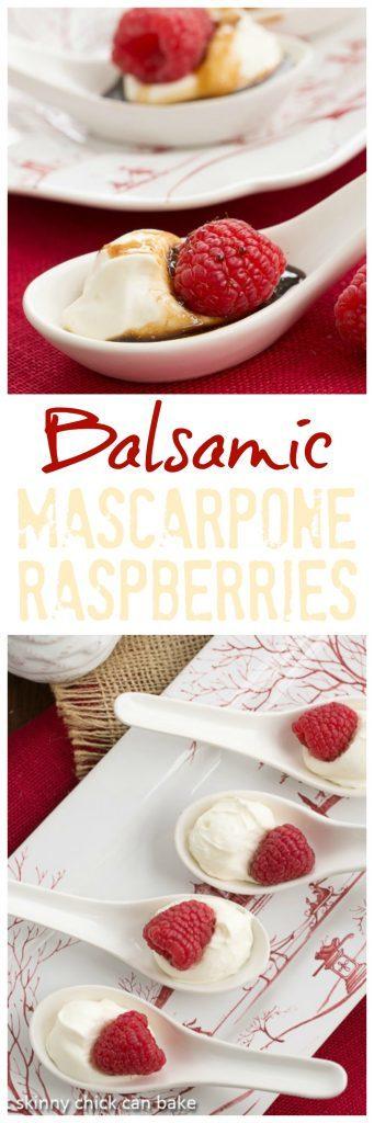 Balsamic Raspberries with Mascarpone Cream | An easy elegant dessert bite!