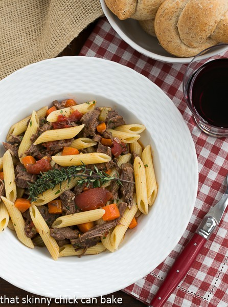 Beef Burgundy Pasta-delicious comfort food! | That Skinny Chick Can Bake | http://thatskinnychickcanbake
