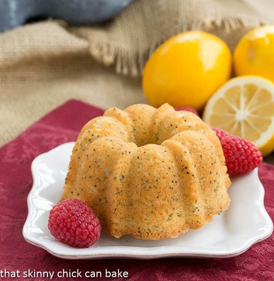 Meyer Lemon Poppy Seed Tea Cakes | That Skinny Chick Can Bake | https://thatskinnychickcanbake.com