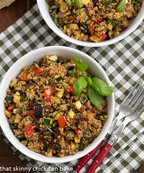 A healthy and flavorful Quiona Salad with Roasted Vegetables  That Skinny Chick Can Bake