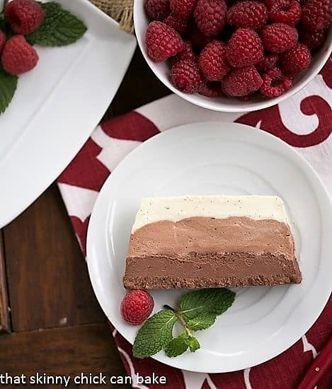 Triple Chocolate Terrine slice on a small white plate garnished with raspberries and mint