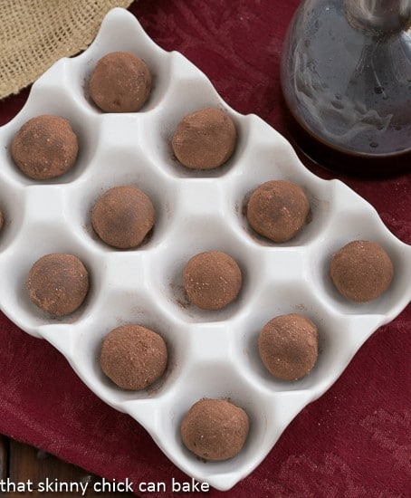 Overhead view of Chocolate Balsamic Truffles in an egg crate dish