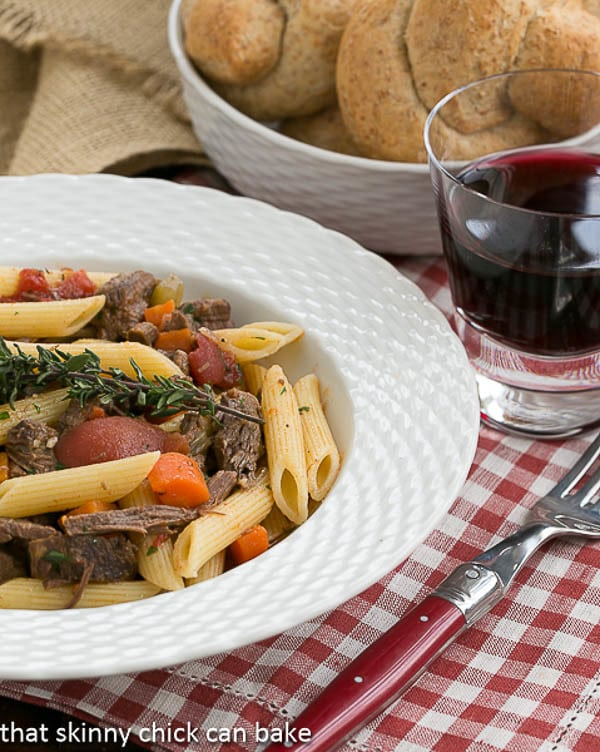 Beef Burgundy Pasta served in a white bowl