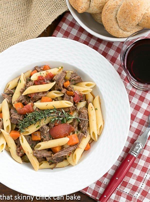 Beef Burgundy Pasta overhead