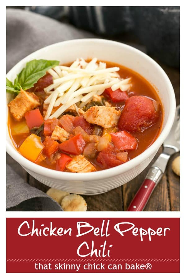Chicken and Bell Pepper Chili photo and text Pinterest collage