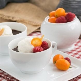 Chocolate Pots de Creme in coffee cups