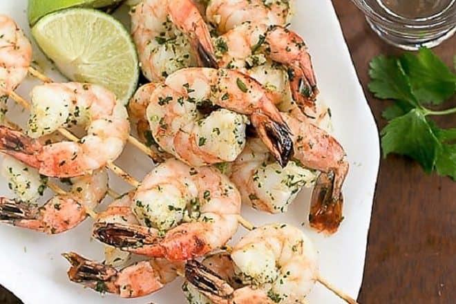 Skewered Margarita Shrimp on a white platter
