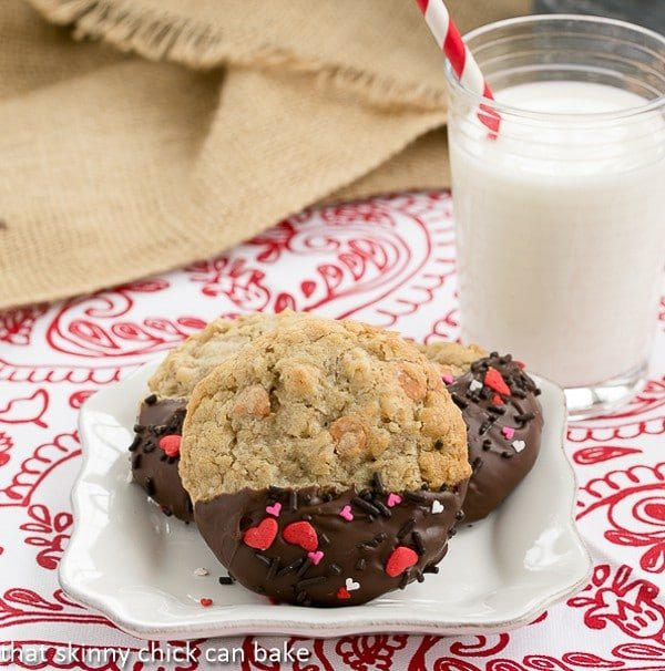 Big Dipper Oatmeal Butterscotch Cookies on a square white plate with a glass of milk