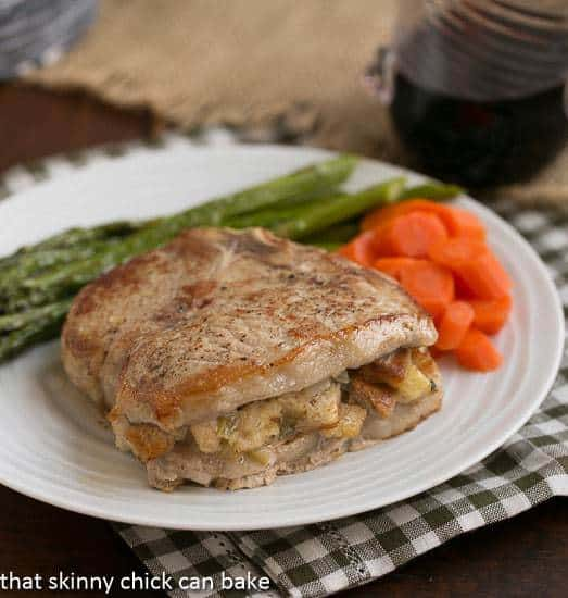 Stuffed Pork Chops with Apple Thyme Sauce