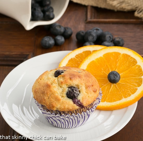 Blueberry Orange Muffins with orange slices
