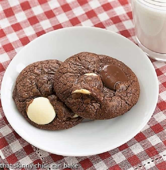 Two Brownie Drop Cookies on a white saucer