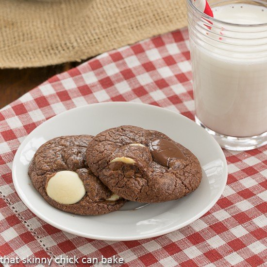 Brownie Drop Cookies on a white plate