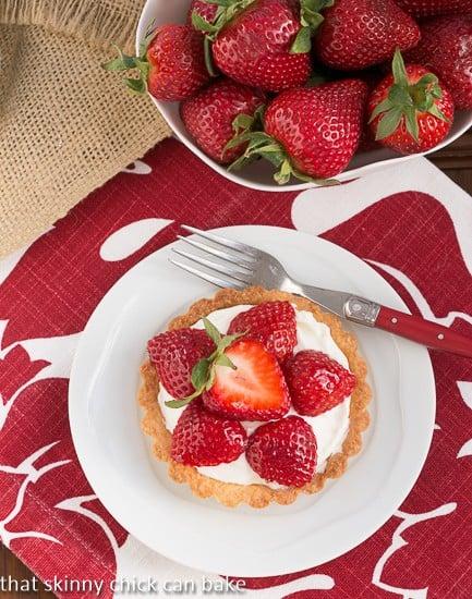 Fresh Strawberry Tartlets - single tart on a small white plate