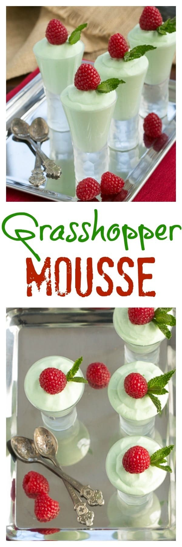 Grasshopper Mousse - Creme de Menthe and White Chocolate create an irresistible dessert #mousse #mint #grasshopper #easyrecipe