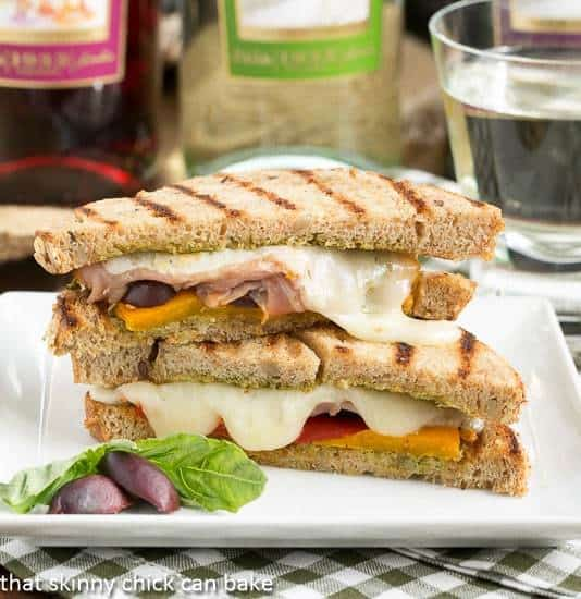 Mediterranean Grilled Cheese filled with melty cheese, deli meat and vegetables