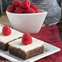 Raspberry Brownies with White Chocolate Icing
