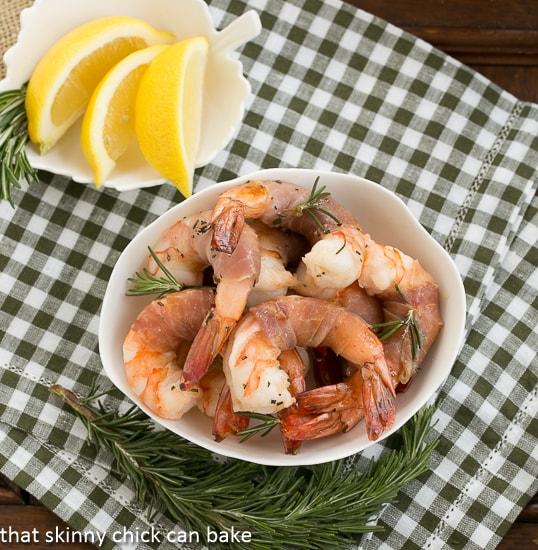 Rosemary Prosciutto Shrimp overhead view in a white bowl