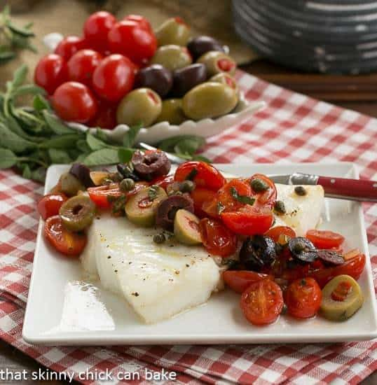 Sea Bass with Mediterranean Tapenade