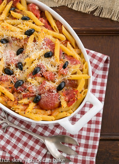 Spicy Penne with Tomatoes and Havarti in white casserole dish