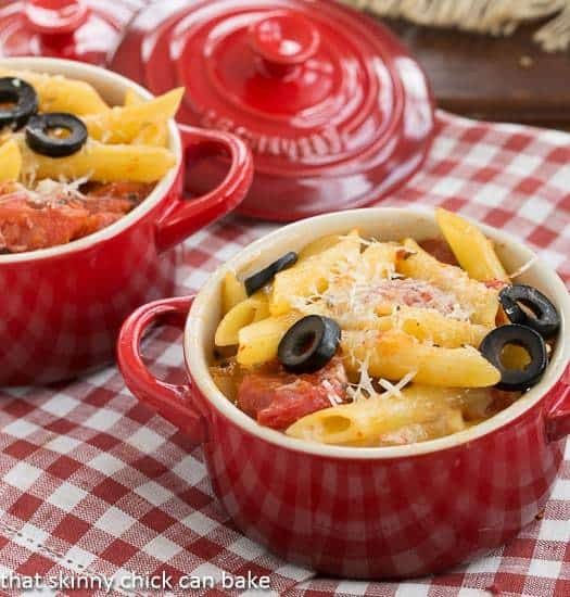 Spicy Penne with Tomatoes and Havarti in red crocks