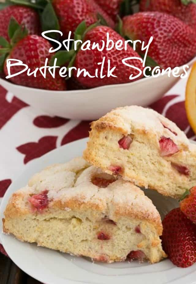 Strawberry Buttermilk Scones - tender, chock full of berries and absolutely delicious! #scones #strawberry #buttermilk #breakfast #brunch