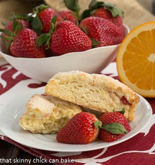 Strawberry Buttermilk Scones broken to reveal insides
