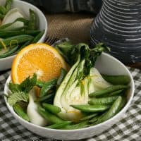 Bok Choy, Sugar Snaps and Garlic en Papillote | A Dorie Greenspan recipe
