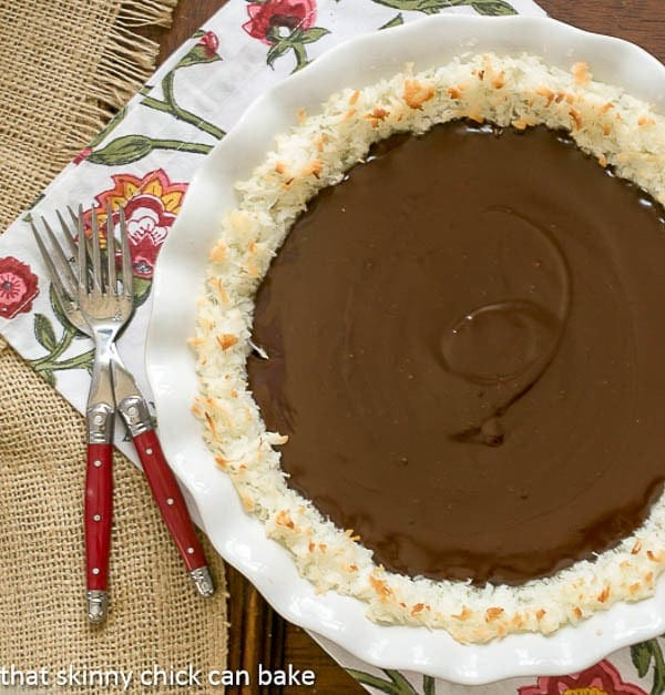 Coconut Crusted Chocolate Ganache Pie