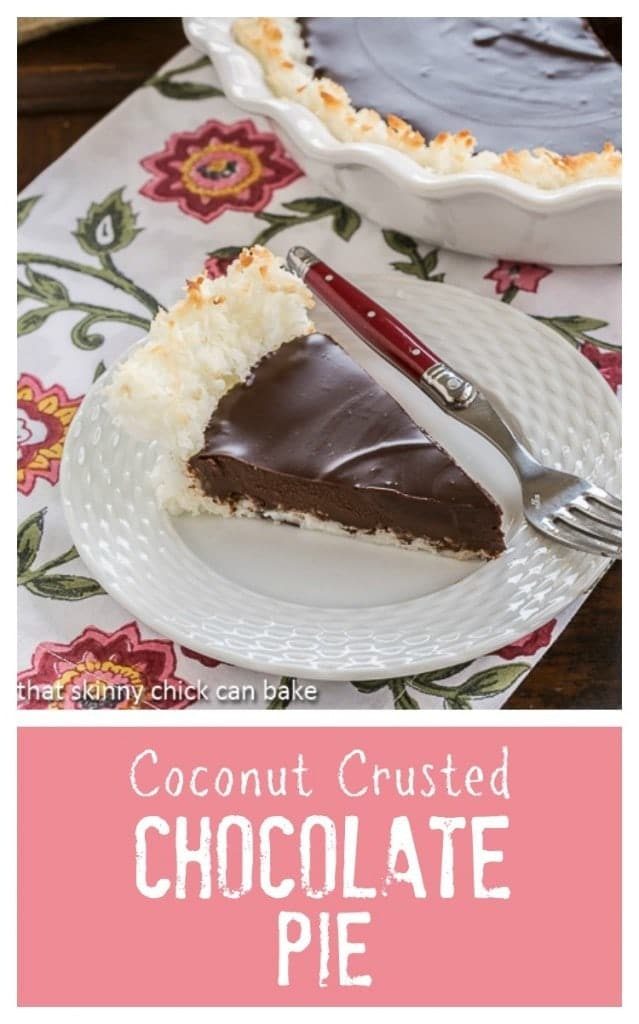Coconut Crusted Chocolate Ganache Pie | How can a 4 ingredient dessert be so fabulous???