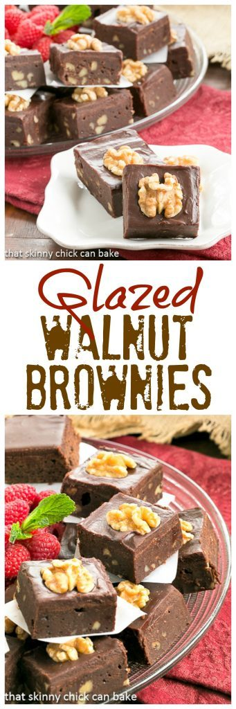 Chocolate Glazed Walnut Brownies   With or without nuts, these are killer!