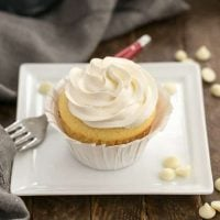 Vanilla Cupcakes with White Chocolate Buttercream on a square white dish