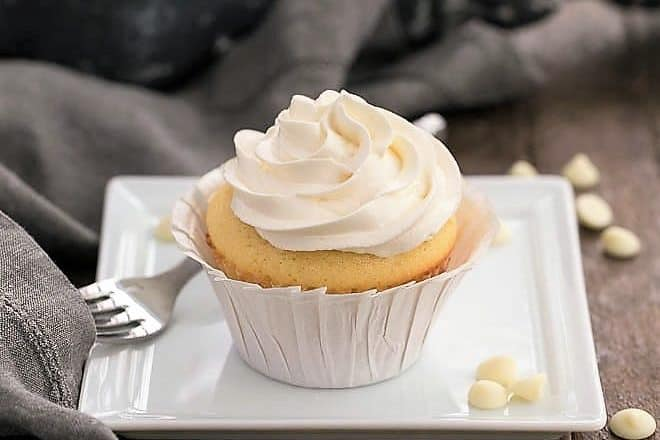 Ghirardelli Vanilla Cupcakes with White Chocolate Buttercream featured image