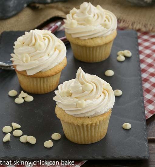 Vanilla Cupcakes with White Chocolate Buttercream