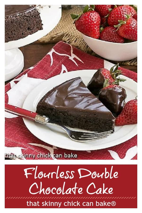 Flourless double chocolate cake pinterest image