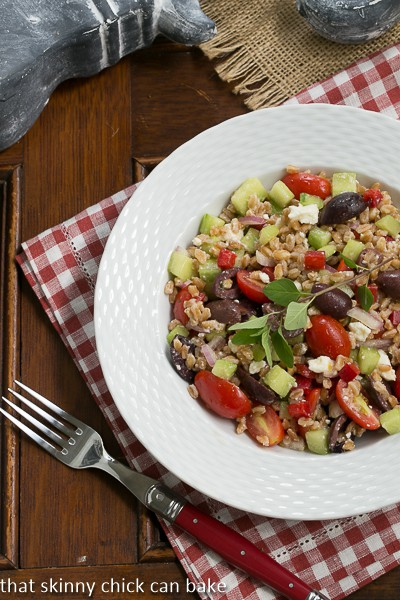Greek Farro Salad from That Skinny Chick Can Bake