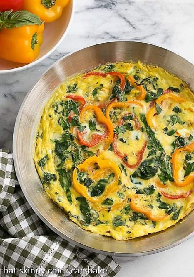 Spinach Frittata in a saute pan