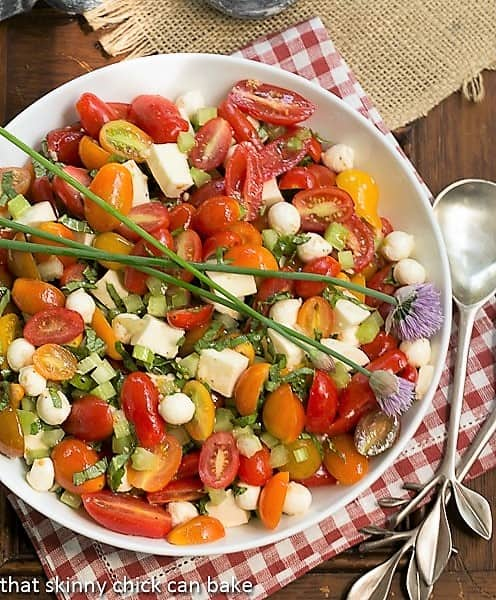Overhead view of a Caprese Salad