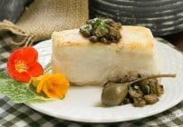Halibut with Capers, Cornichons and Brown Butter Sauce