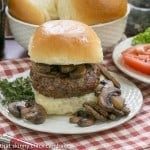 Mushroom Topped Pinot Noir Burgers from That Skinny Chick Can Bake