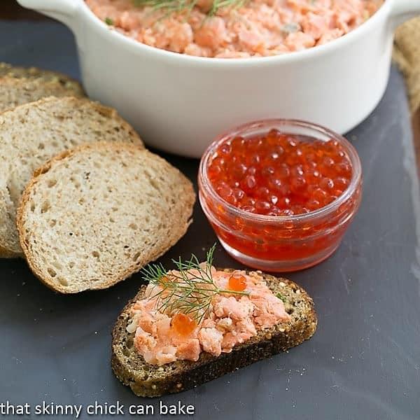 Salmon Rillettes with a jar of salmon caviar