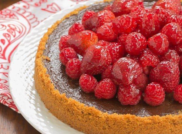 Berry Topped Chocolate Silk | Graham cracker crust filled with silky chocolate and topped with luscious glazed berries
