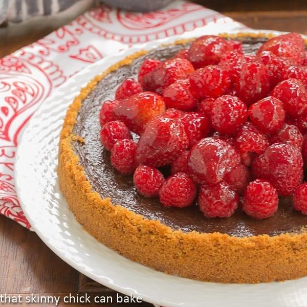 Berry Topped Chocolate Silk - Graham cracker crust filled with silky chocolate and topped with luscious glazed berries