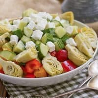 Greek Salad with Feta - an easy, flavorful salad full of Mediterranean flavors!