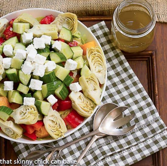 Greek Salad with Feta | Healthy salad chock full of veggies, Feta and topped with a lovely vinaigrette