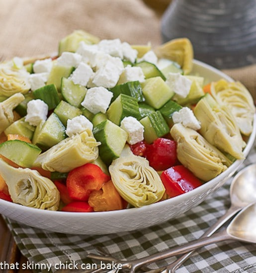 Greek Salad with Feta - Chock full of veggies, Feta and topped with a lovely vinaigrette